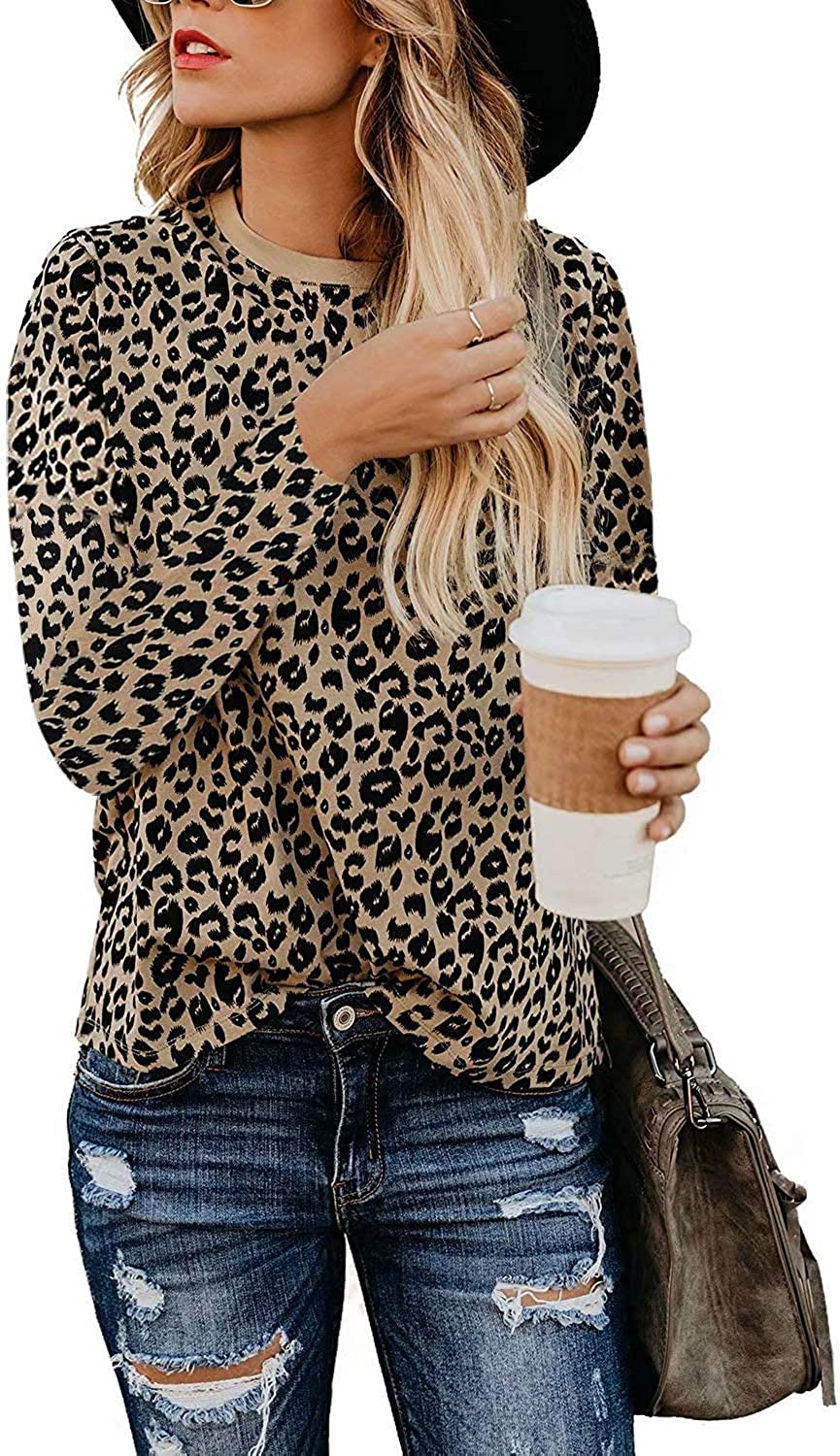 Women's Casual Cute Blouse and Top Leopard Print Basic Long Sleeve Soft Shirt