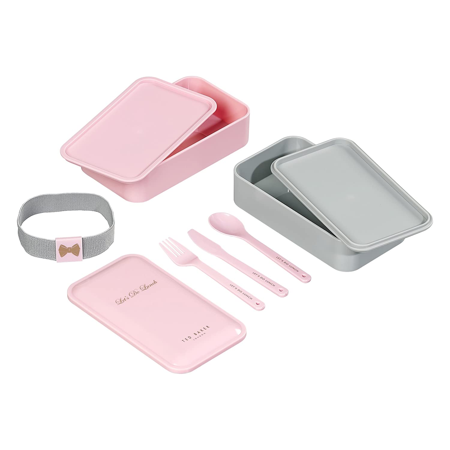 acdcf14a99127b Amazon.com  Ted Baker 6-Piece Lunch Stack Storage Containers with Cutlery  and Closure Strap  Kitchen   Dining