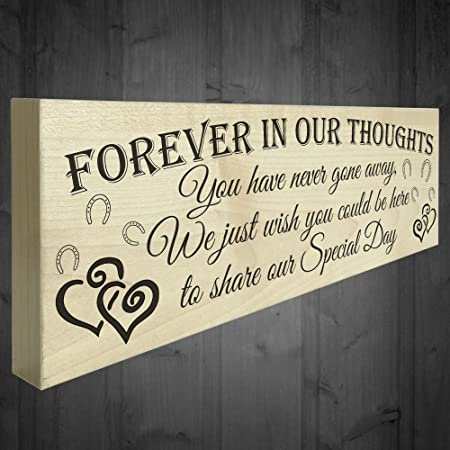 red ocean forever in our thoughts wooden freestanding wedding plaque