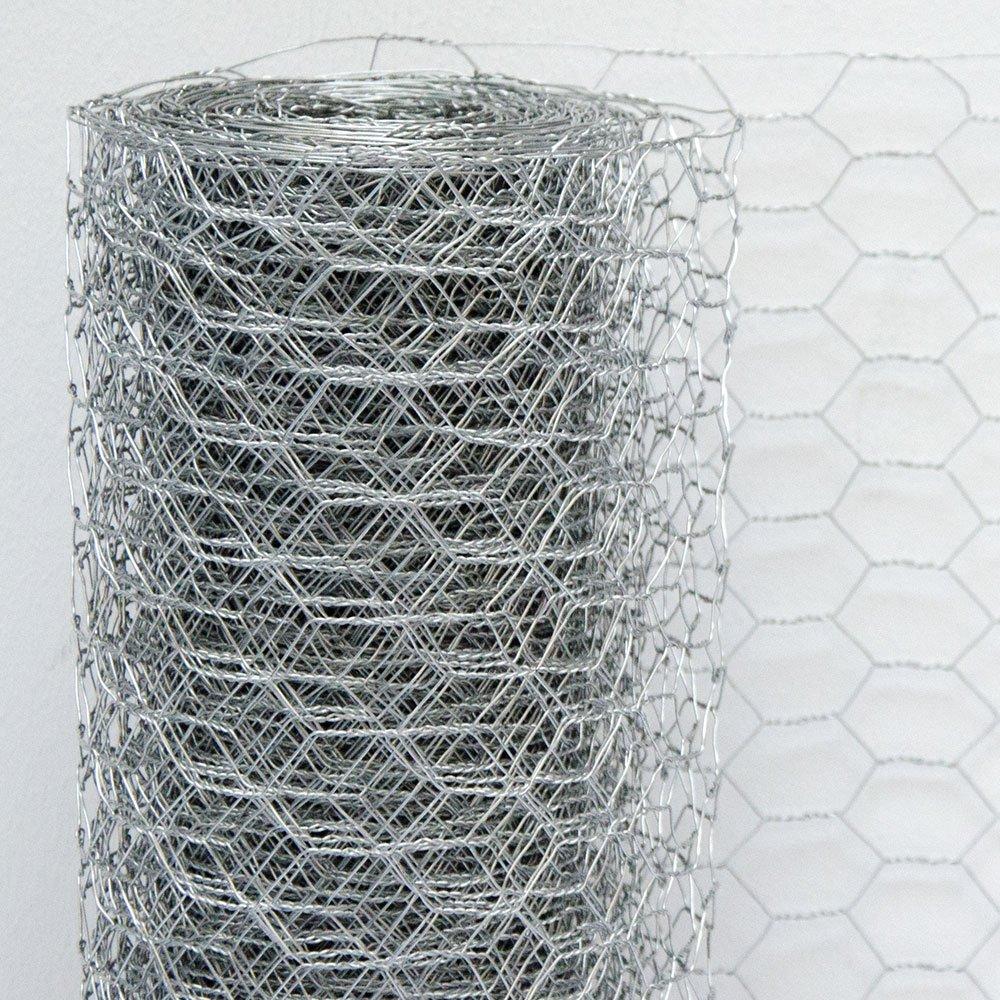 Maglia Esagonale 25x25mm Recinzione per Animali e Piante Lunga 25 m Recinto in Rete Metallica Altezza 50 cm  Zincato 0,6mm