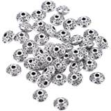 Mudder 100 Pieces 6 mm Antique Silver Spacer Beads European Style Beads for Jewelry Making