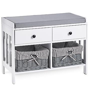 separation shoes 6e466 c13fd VonHaus Hall Seat & Storage Unit. Hallway White & Grey MDF Storage  Furniture - Drawers & Wicker Baskets with Striped Washable Lining & Bow  Detail. ...