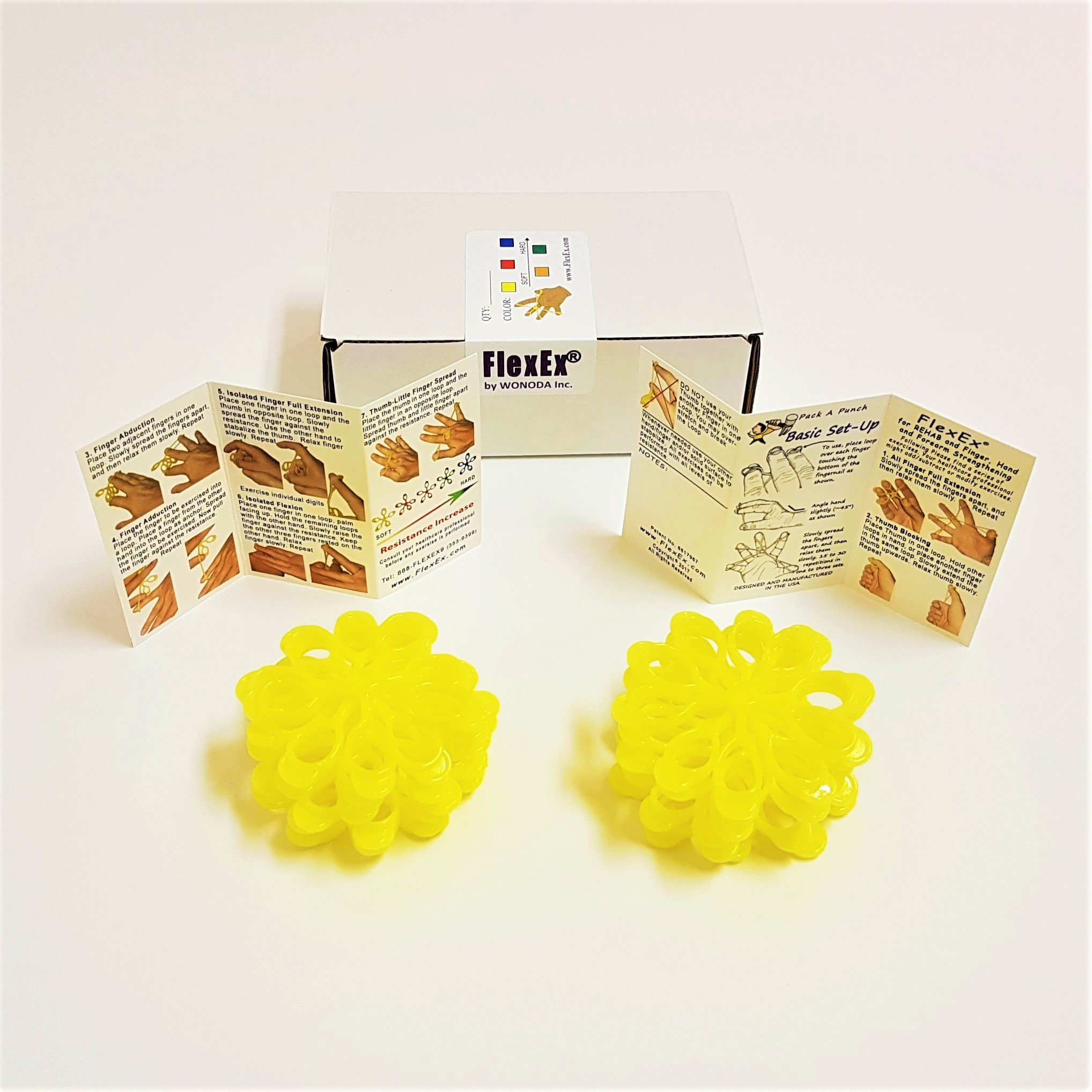FlexEx Hand Exerciser - 20 Pack Yellow - Light Resistance, Made In USA by WONODA (Image #2)