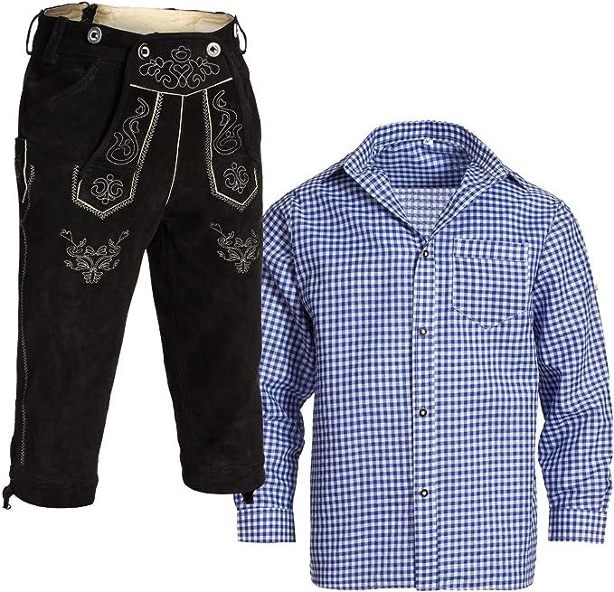 Gaudi Leathers, Herren Trachten Set Lederhose Kniebund Hellbraun m. Träger und Trachtenhemd Blau Weiß Kariert