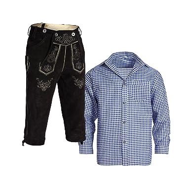 3db49f16831a2 Gaudi-Leathers, Homme Set Pantalon en Cuir Traditionnel Kniebund Noir 46 +  Bretelles +