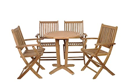 Amazon.com: Amazonia teca Kansas 5-Piece Set de comedor de ...