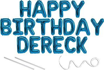 Amazon.com: Cartel de globo de Mylar de Dereck, Happy ...