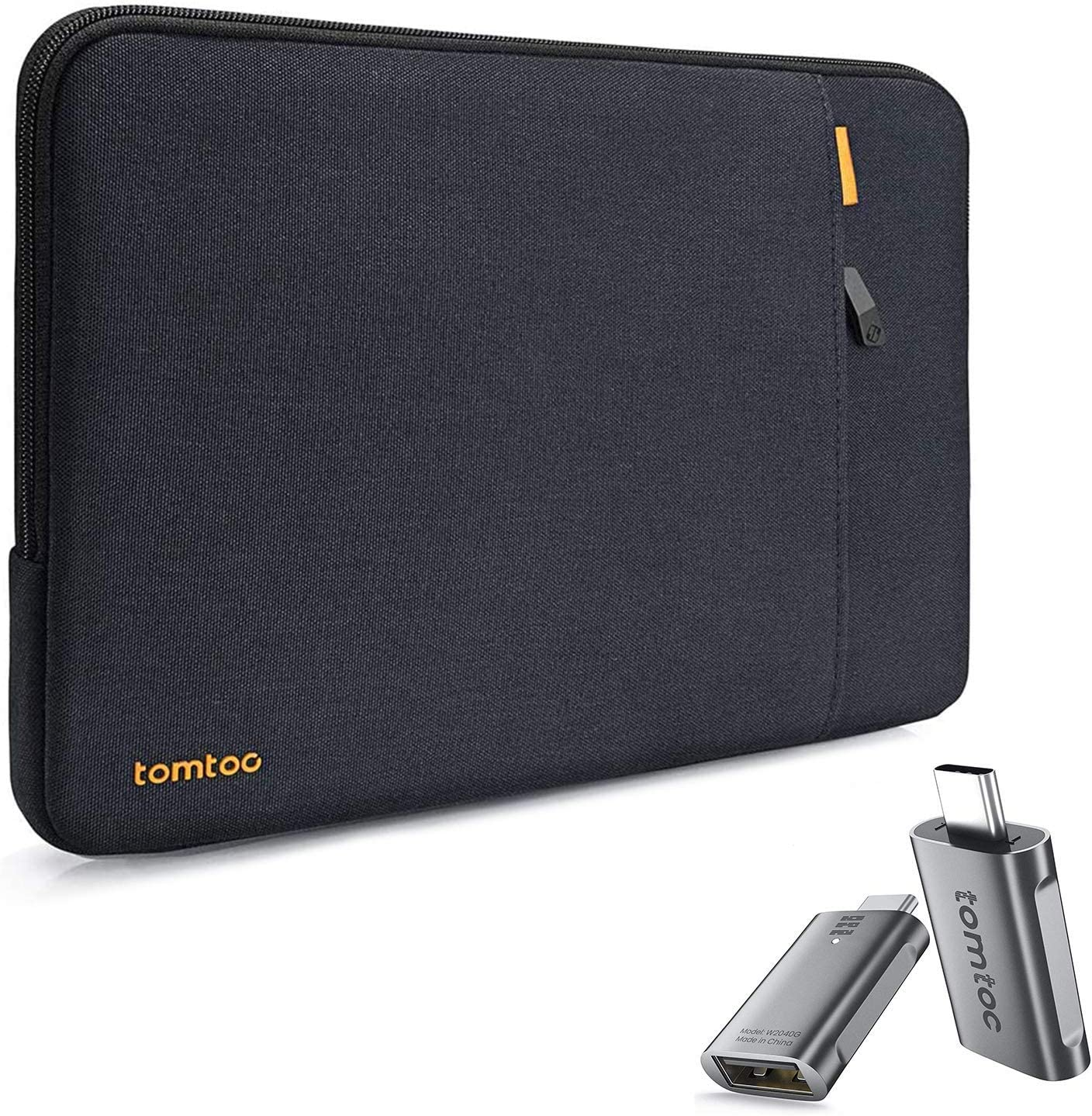 tomtoc 360 Protective Laptop Sleeve with USB C to USB Adapter Thunderbolt 3 to USB 3.0 Adapter for 13-inch New MacBook Air with Retina Display A1932 A2179, 13 Inch MacBook Pro USB-C A2251 A2289 A2159