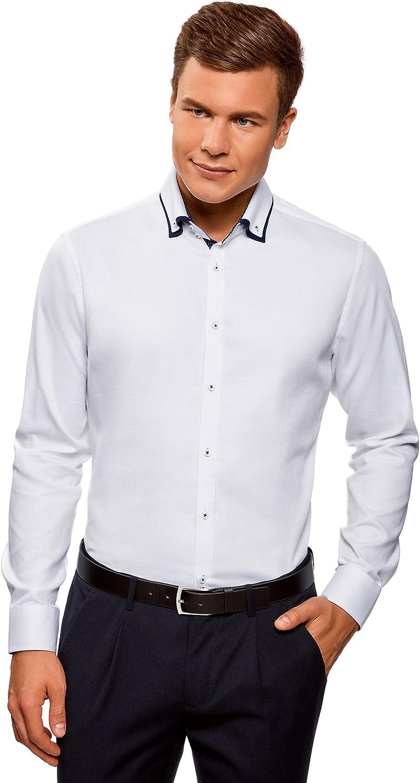 oodji Ultra Uomo Camicia Stretta con Finitura in Contrasto