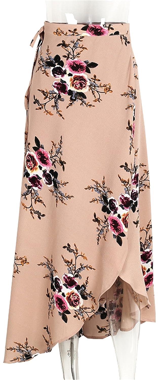27916214db Simplee Vintage floral print long skirts women Summer elegant beach maxi  skirt Boho high waist asymmetrical skirt Print 1 M at Amazon Women's  Clothing store ...