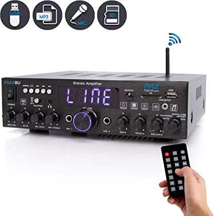 2000W 2 Channel Stereo Audio Power Amplifier Home bluetooth AMP FM Radio US