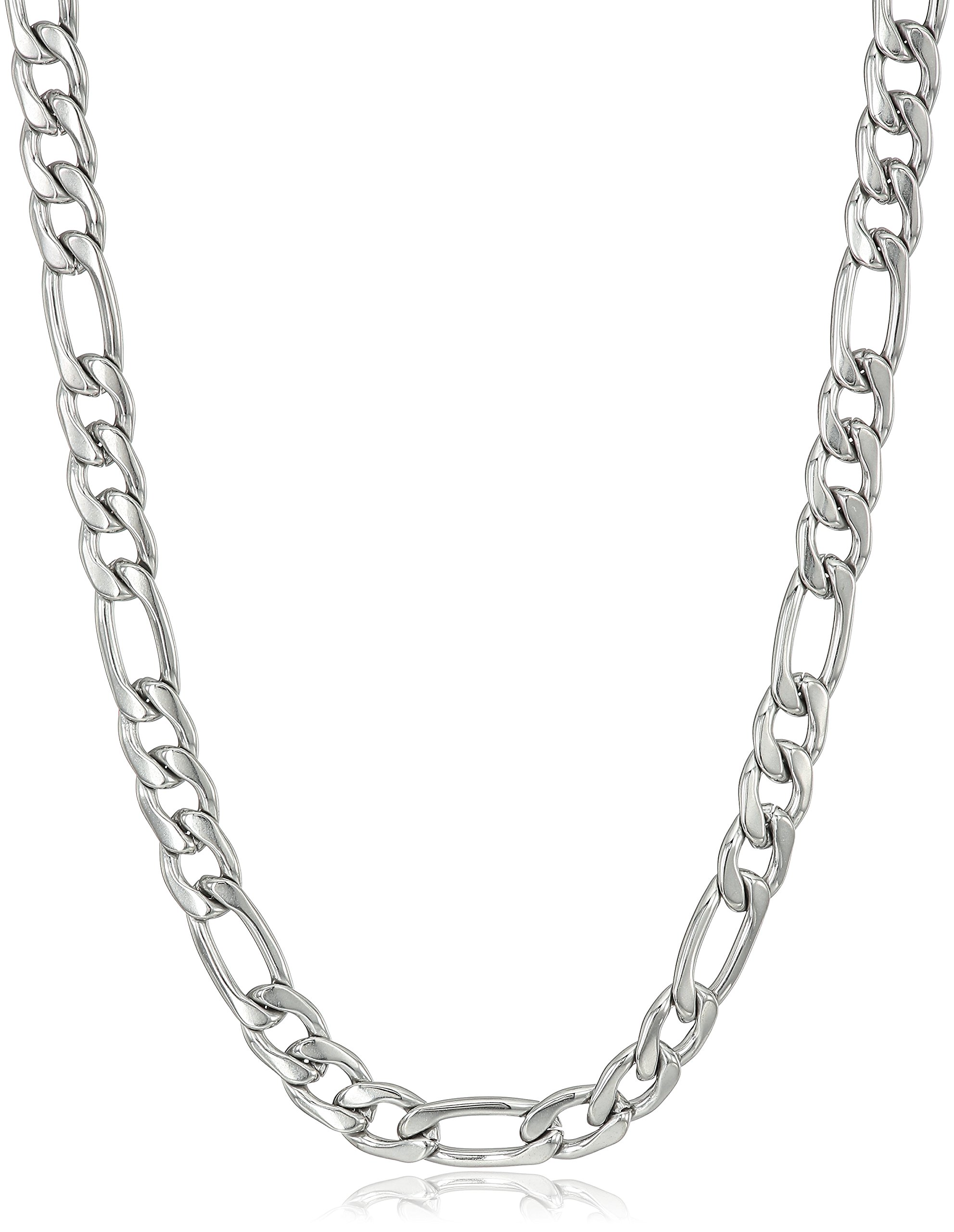 Men's Stainless Steel 4mm Figaro Chain Necklace, 24''