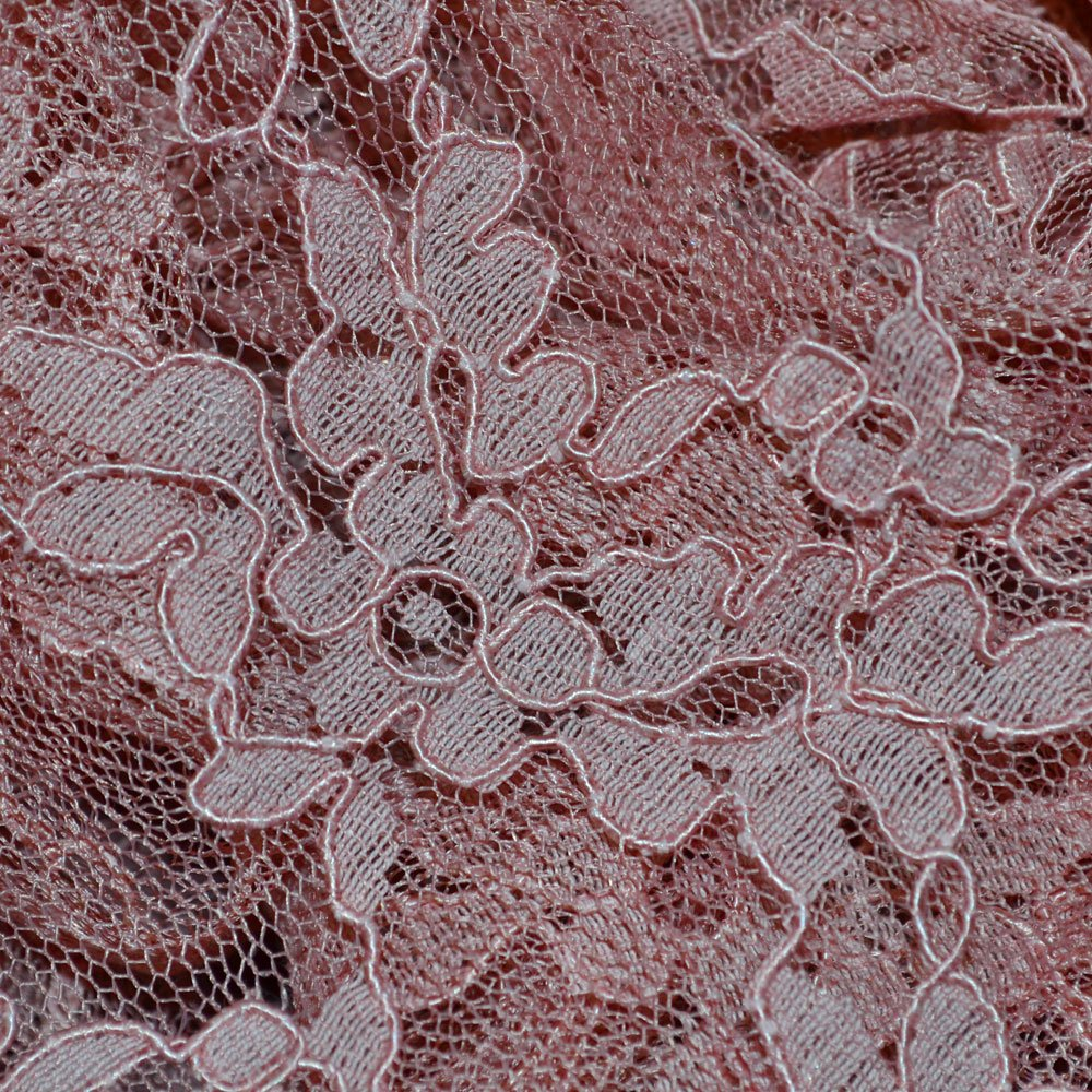 Dusky Pink Heavy Corded Lace Fabric 8754 Col 18