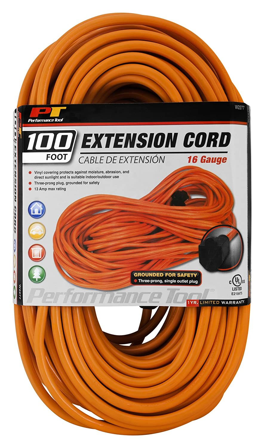 Performance Tool W2277 100 16 Gauge Orange Extension Wiring Three Prong Plug Cord Automotive