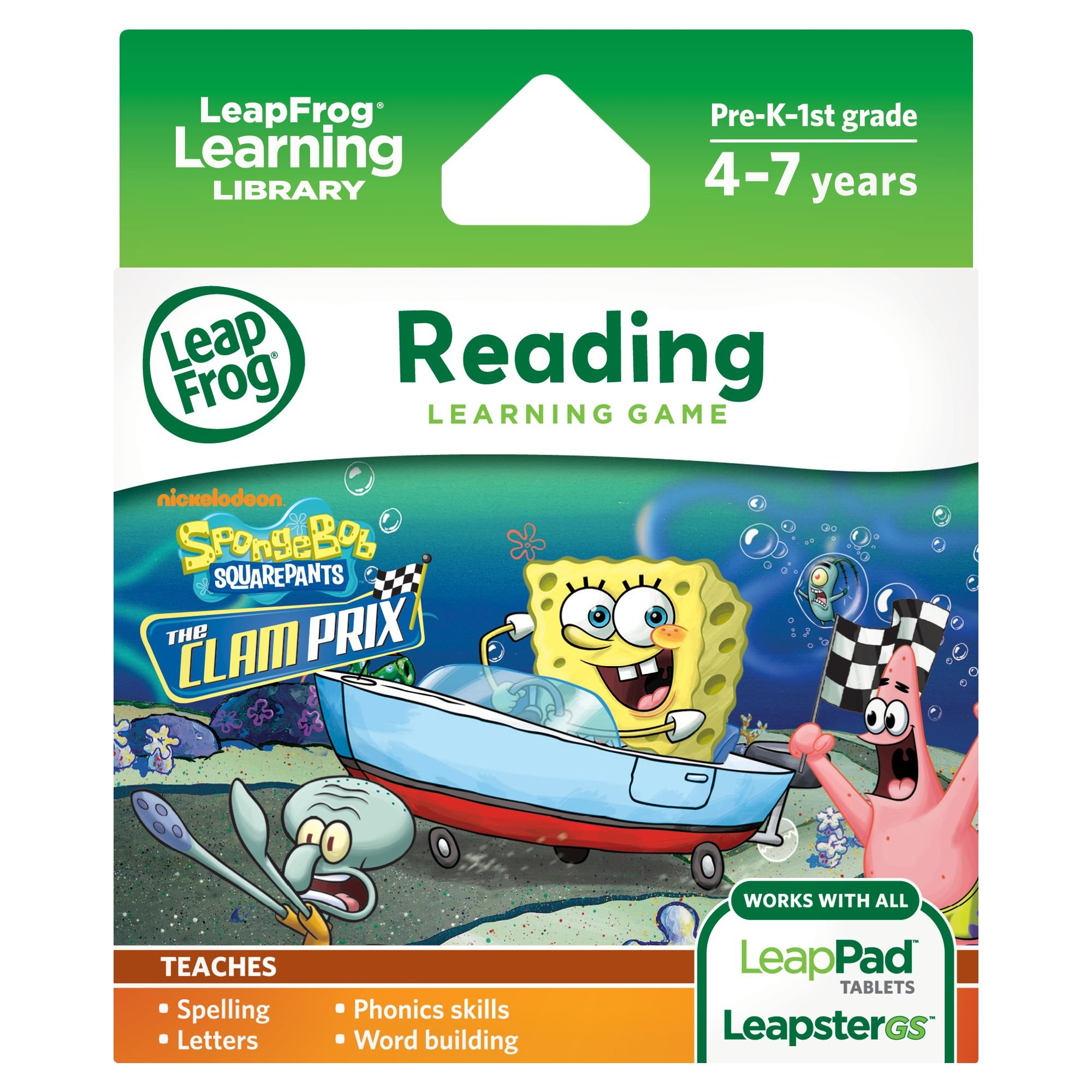 LeapFrog SpongeBob SquarePants: The Clam Prix Learning Game (works with LeapPad Tablets, Leapster GS, and Leapster Explorer) by LeapFrog