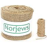Norjews Natural Jute Burlap Ribbon (25m x 15cm), Natural Ribbon Made of Tearproof Jute Fabric - Hessian Ribbon Suitable for Plant Protection, Decor, Bonus 4mm x 20m Jute Twine