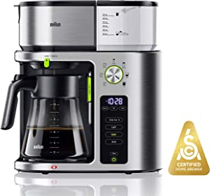 Braun KF9070SI MultiServe Coffee Machine 7 Programmable Brew Sizes / 3 Strengths + Iced Coffee & SCA Certified, Glass Carafe (10-Cup), Stainless Steel