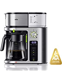 Braun KF9070SI MultiServe Coffee Machine 7 Programmable Brew Sizes / 3 Strengths + Iced Coffee & SCA Certified, Glass...