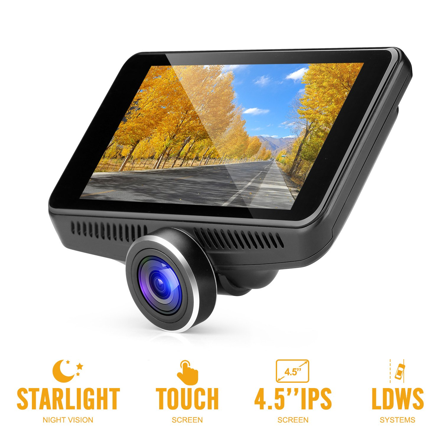 OldShark G16 Dash Camera with 4.5'' IPS Touch Screen, Super Night Vision Dashboard Camera 1080P FHD 170 Wide-Angle Car Driving Recorder with G-Sensor, ADAS, WDR, Parking Guard, Loop Recording