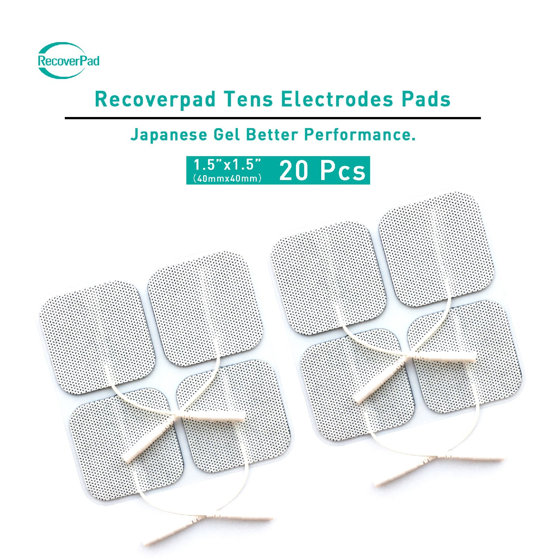 RecoverPad 8pcs 40x40mm Profesional TENS Electrodos, 3rd Gel japoné s Sin lá tex Electrodos(CE/FDA Aprobado), Mejor desempeñ o autoadherente para electroestimuladores TENS EMS 3rd Gel japonés Sin látex Electrodos(CE/FDA Aprobado)