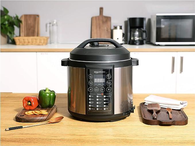 AmazonBasics - Vaporizador eléctrico multiuso 23 en 1, 5,5 l, 1000 W, acero inoxidable cepillado, incluye libro de recetas: Amazon.es: Hogar