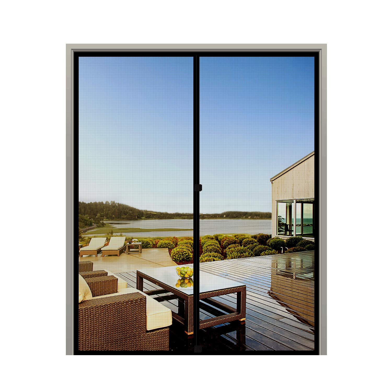 """MAGZO French Screen Door 72 x 80, Durable Fiberglass Mesh with Heavy Duty Full Frame Hook&Loop Fits Door Size up to 72""""x80"""" Max-Black"""