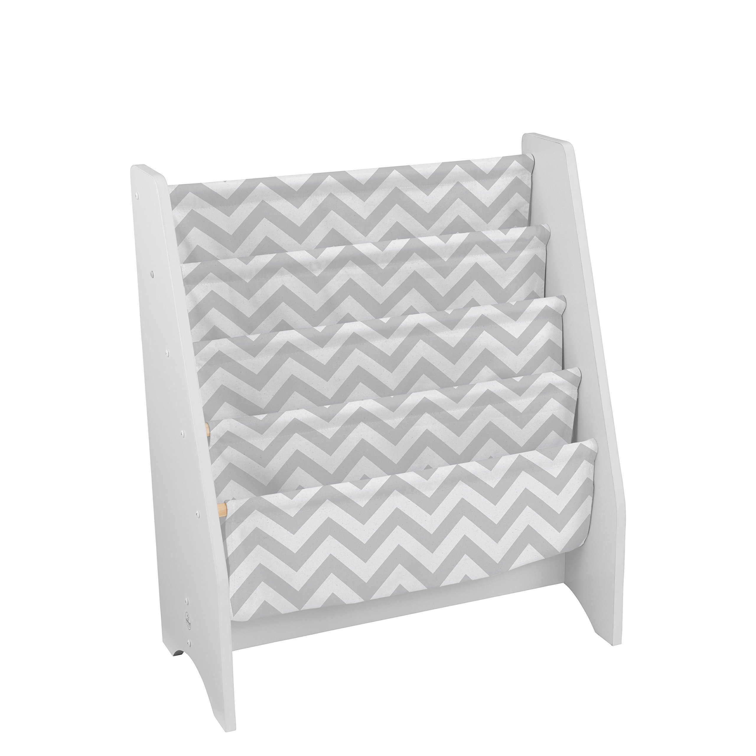 KidKraft Wooden Sling Bookcase - Gray & White- Sturdy Canvas Fabric, Chevron Pattern, Kids Bookshelf, Young Reader Support by KidKraft