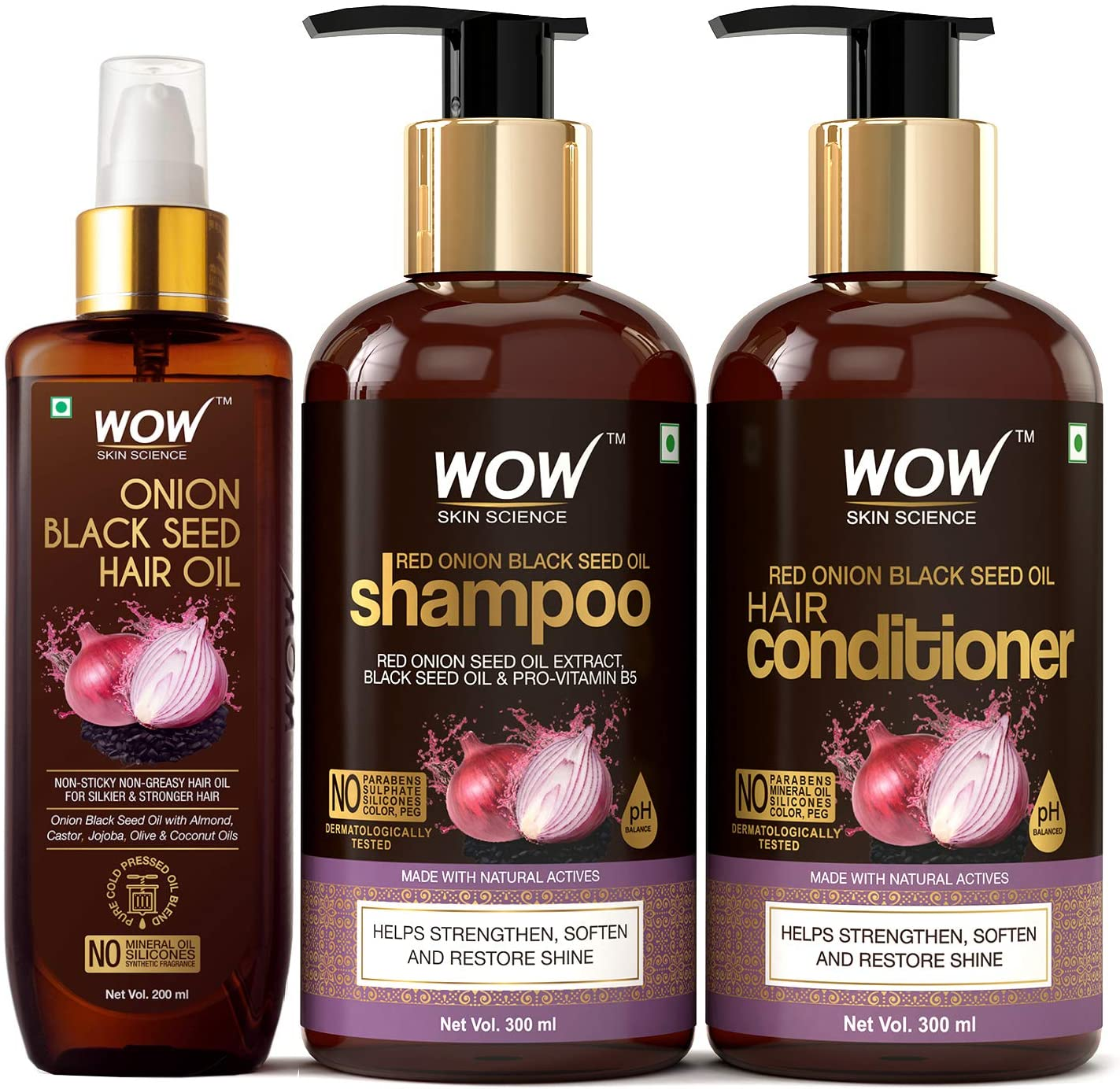 Wow Skin Science Onion Black Seed Oil Ultimate Hair Care Kit Shampoo Hair Conditioner Hair Oil 800 Ml Amazon Ca Beauty