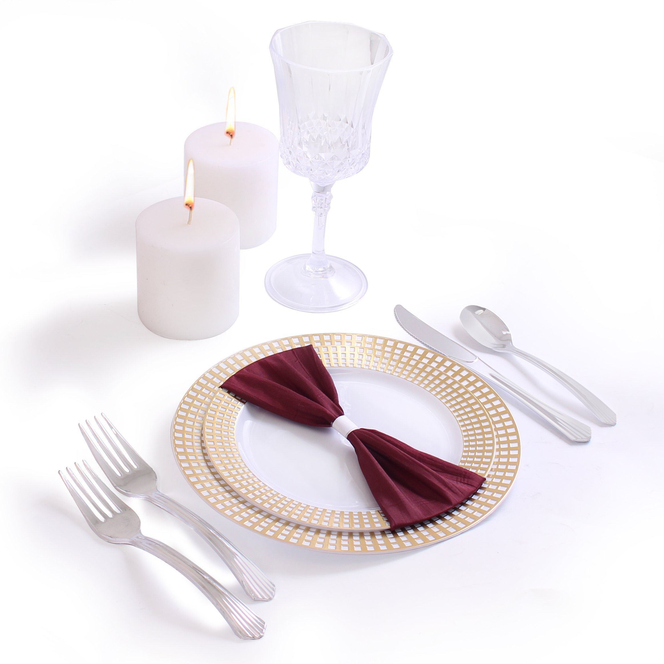 Party Bargains 720 Count Signature Collection, Plastic China Like Plates Silverware Combo, Gold by Party Bargains