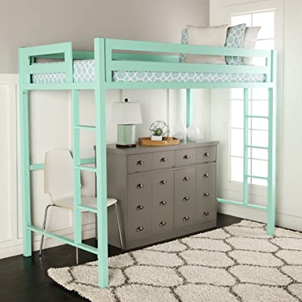 Twin Loft Bed.We Furniture Premium Twin Metal Loft Bed Mint Amazon Ca Home