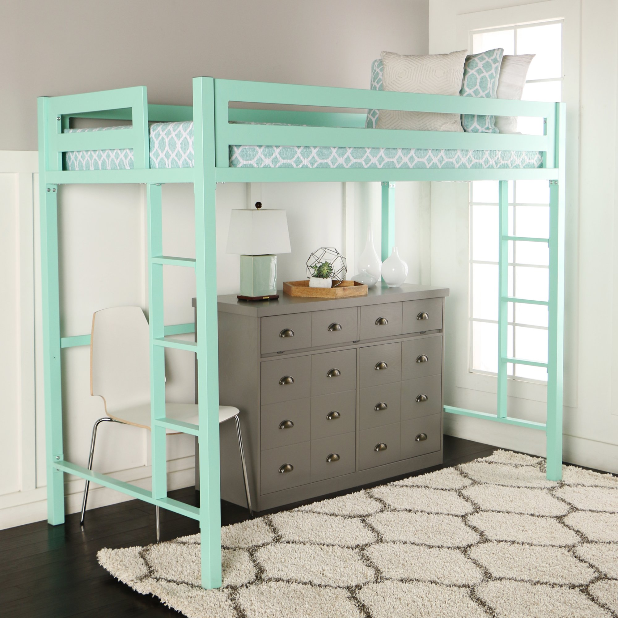 WE Furniture Premium Twin Metal Loft Bed, Mint by WE Furniture