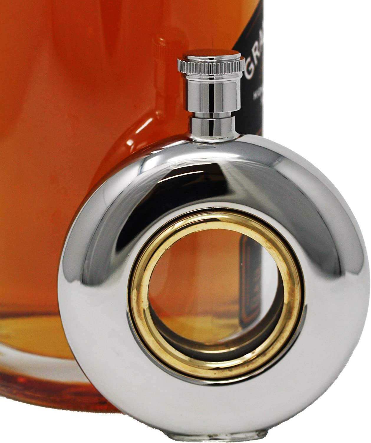 5 oz Discrete Round Pocket Alcohol Liquor Flask With Clear Center (Golden Eye) Made from 304 (18/8) Food Grade Stainless Steel