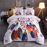 A Nice Night Dreamcatcher Printed Bohemia Comforter Set Queen Size, Boho Dream Catcher Quilt Bedding Sets (Dreamcatcher, Quee