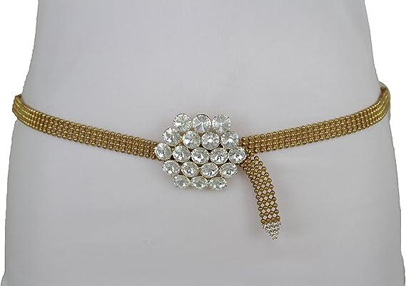 Cool Women Silver Mesh Metal Fashion Belt Hip High Waist Flower Beads Size S M L