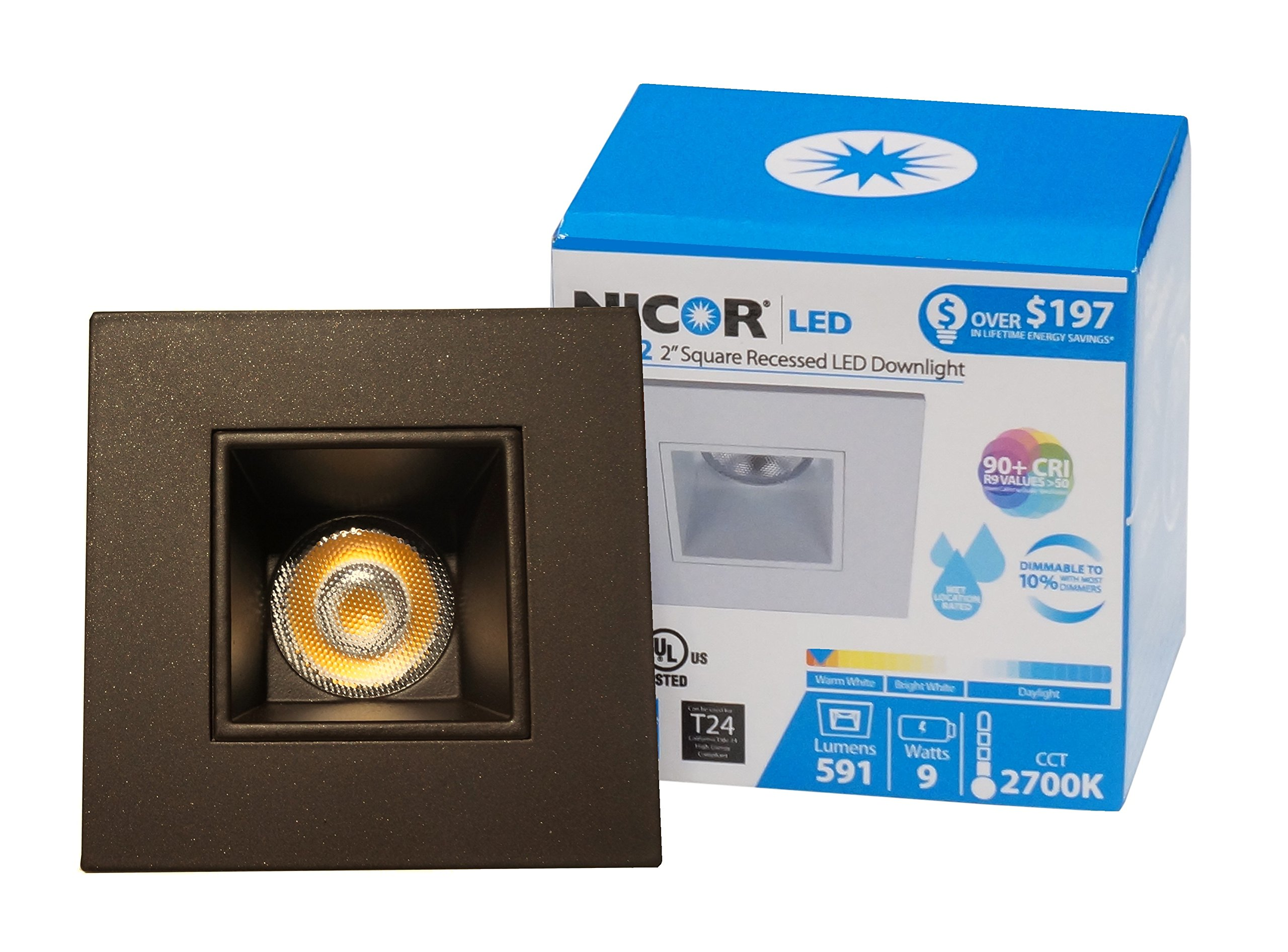 NICOR Lighting 2-Inch Square 3000K LED Downlight Fixture for 2-Inch Recessed Housings, Oil-Rubbed Bronze (DQR2-10-120-3K-OB) by NICOR Lighting