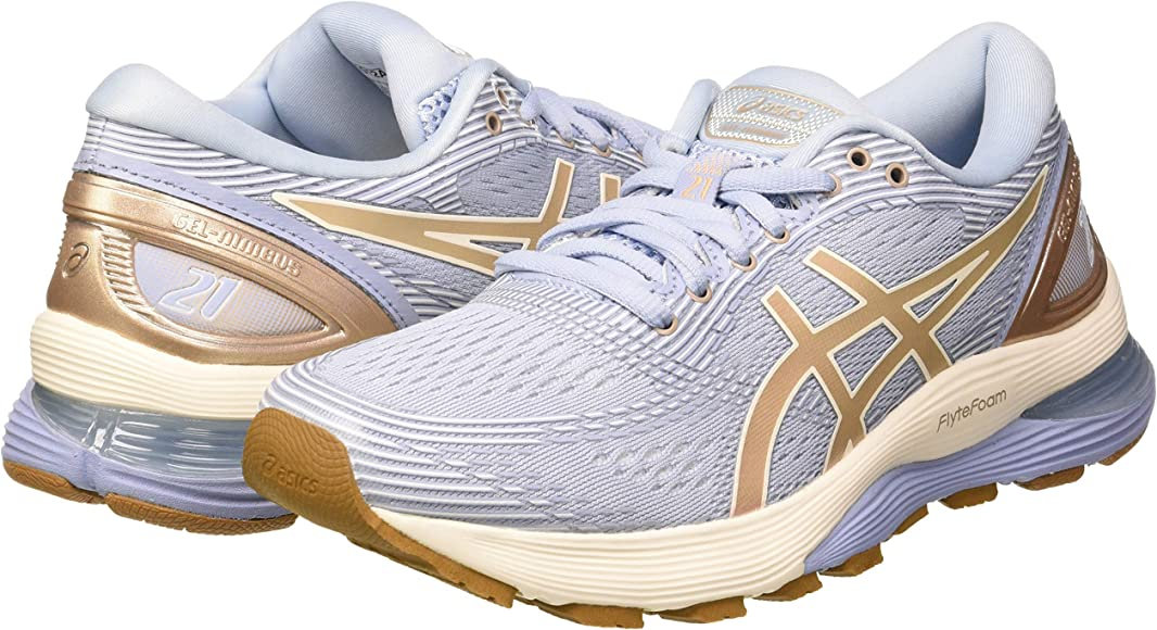 Asics Gel-Nimbus 21, Zapatillas de Running para Mujer, Multicolor (Mist/Frosted Almond 400), 42 EU: Amazon.es: Zapatos y complementos