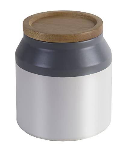 Superieur Jamie Oliver Food Storage Jar With Wooden Lid, Small Ceramic Kitchen  Container, Gray