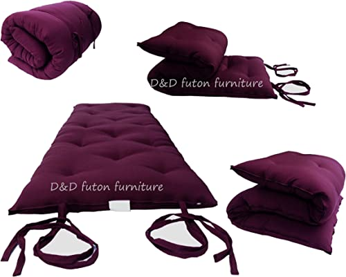 D D Futon Furniture Burgundy Traditional Japanese Floor Futon Mattresses 3 Thick X 30 Wide X 80 Long, Foldable Cushion Mats, Yoga, Meditaion.