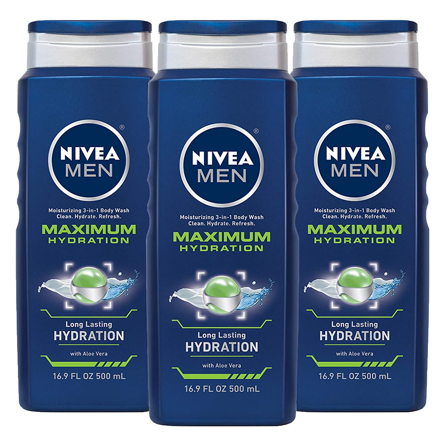 NIVEA MEN Maximum Hydration 3-in-1 Body Wash with Aloe Vera, 16.9 ...
