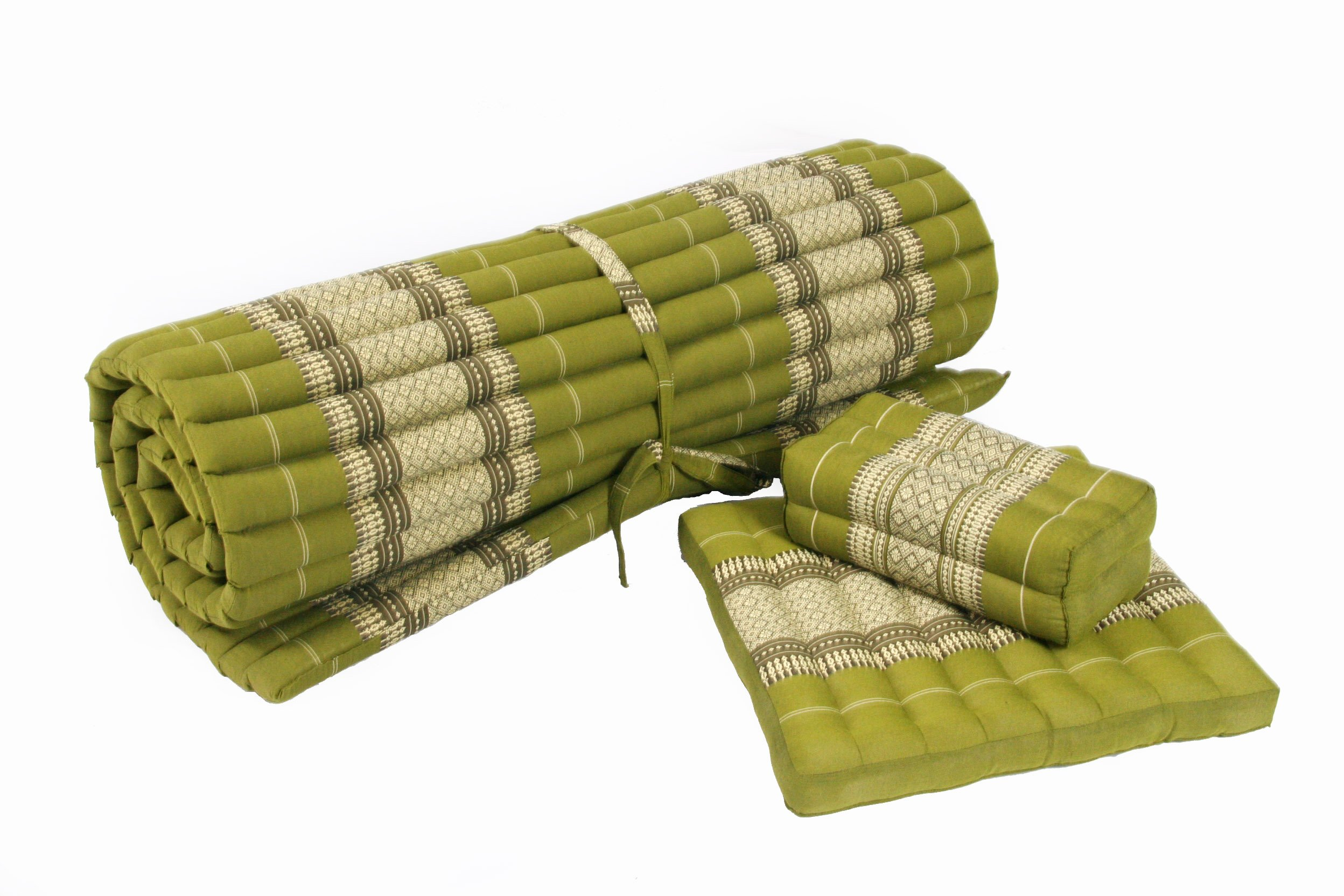 Yogaset I: Rollmat + 2 Cushions, all filled with 100% natural Kapok, Thai traditional Design Bamboogreen