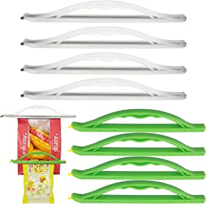 [8-PCS] Bag Sealer Clips with Handle, FANCER Multi Length Sealing Sticks Chips Eco-friendly Keep Plastic Bags Sealing Airtight Watertight & Food Fresh, Reusable & Easy to Storage - Not Touching the Food (Green+Transparent)
