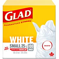 Glad White Garbage Bags - Small 25 Litres - Unscented, 100 Trash Bags