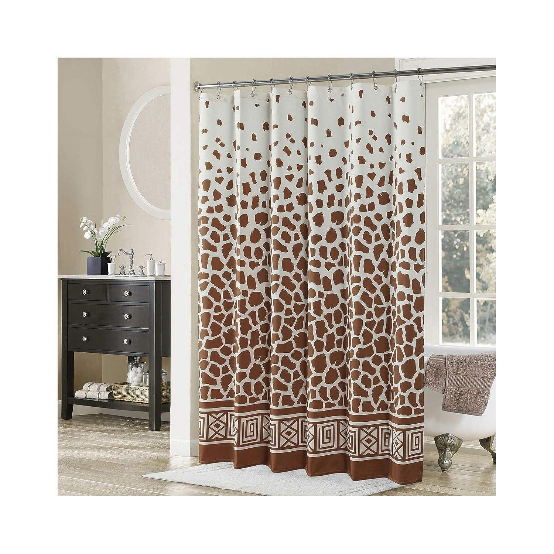 DS BATH Giraffe Shower CurtainTan Fabric CurtainVintage Curtains For BathroomCream Bathroom CurtainsPrint Waterproof Curtain78 W