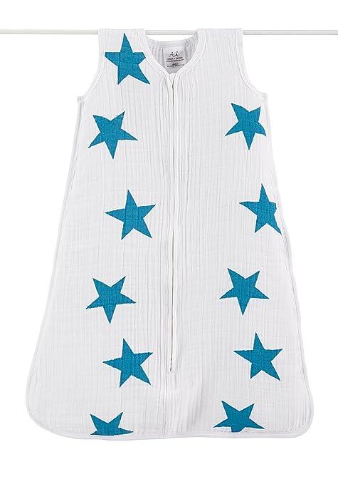 Aden & Anais - Saco de dormir para bebé (0,6 Tog, talla XL, 18-24 meses), diseño de estrellas, color azul y blanco