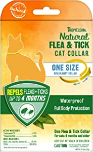 TropiClean Natural Flea & Tick Repellent Collar for Cats - One Size Fits All – Waterproof, Breakaway Design – Repels Flea & Ticks Up to 4 Months, Natural Active Ingredients, Cedarwood & Peppermint