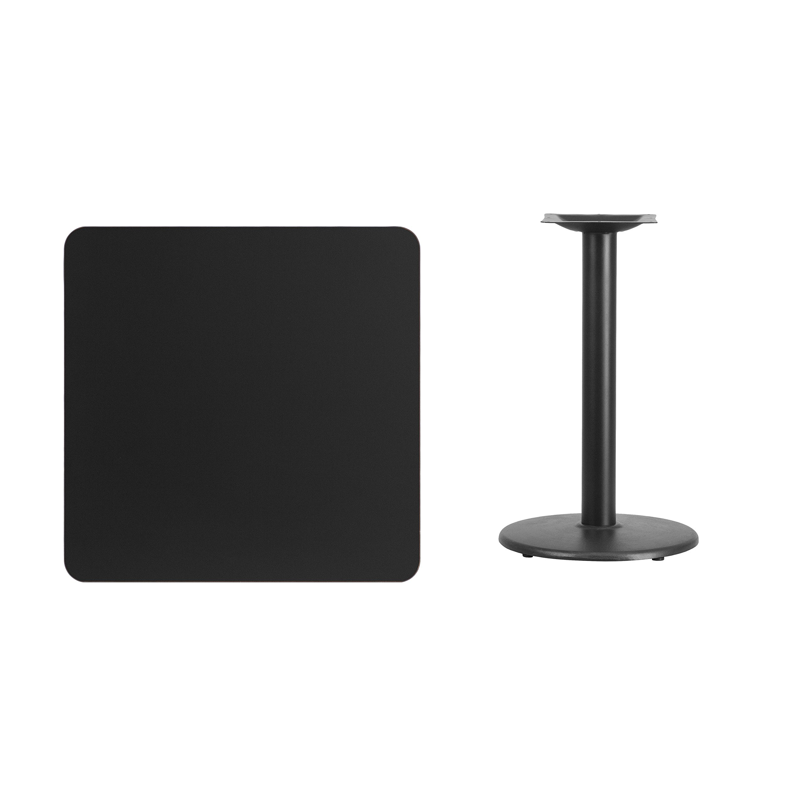 30'' Square Black Laminate Table Top with 18'' Round Table Height Base