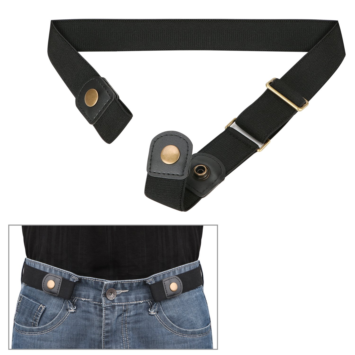 No Buckle Comfortable Elastic Stretch Belt for Men/Women Invisible, No Bulge, No Hassle Soft, Breathable, Adjustable