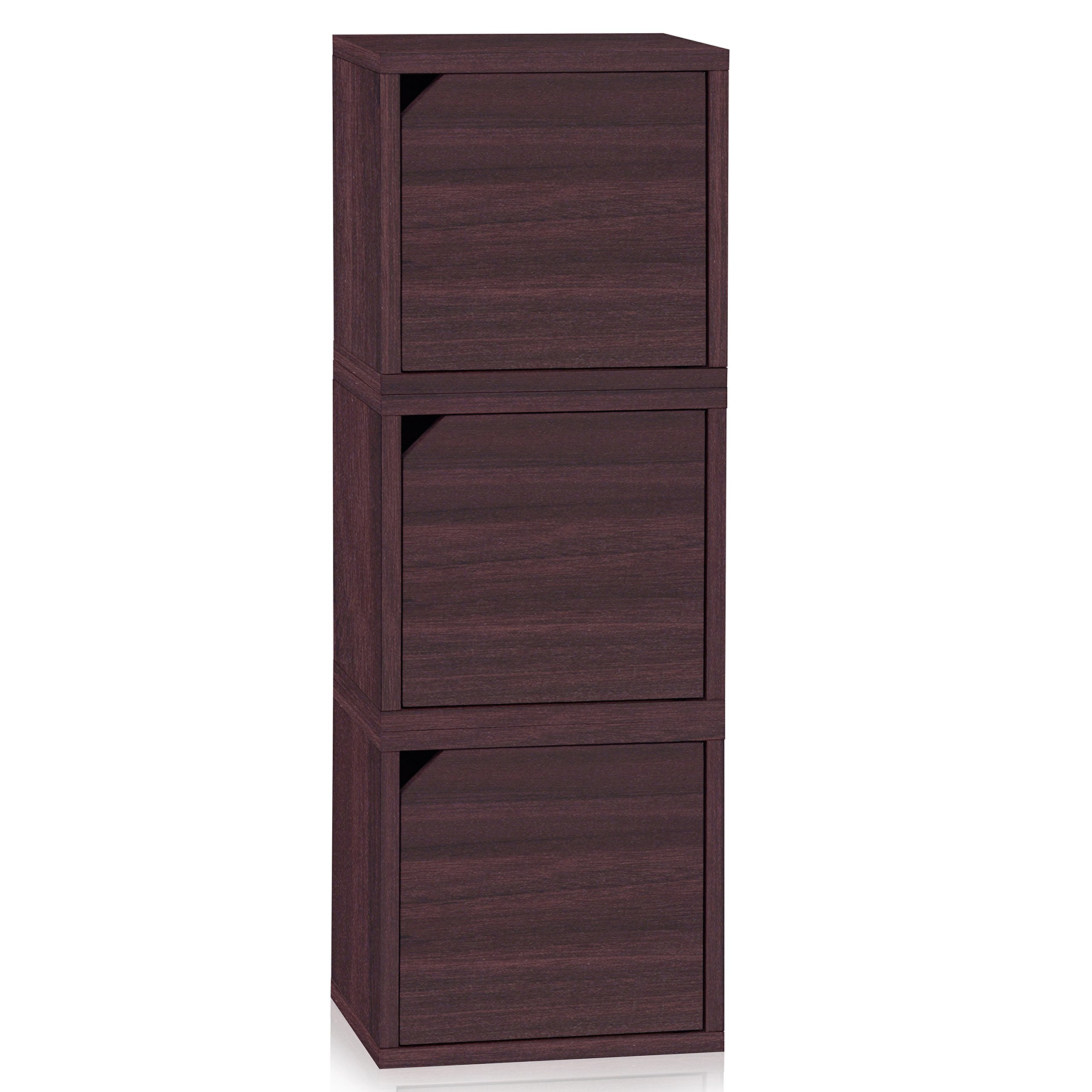 Way Basics Eco Stackable Connect 3 Door Cube Storage, Espresso Wood Grain (made from sustainable non-toxic zBoard paperboard)