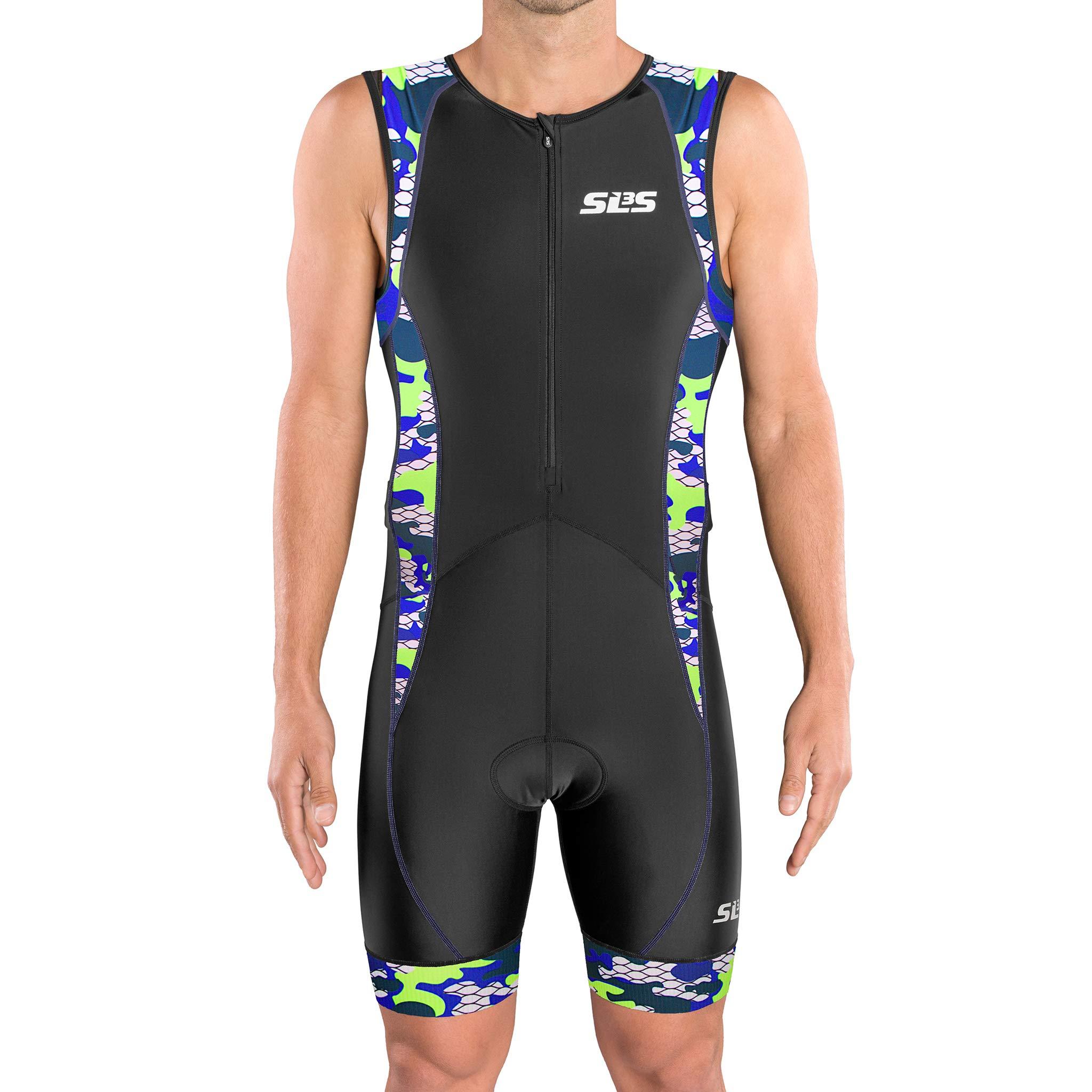 SLS3 Men`s Triathlon Tri Suit FX | Trisuit | 2 Pockets | Soft Custom Chamois | German Designed (Black/Blue Camo, XL)