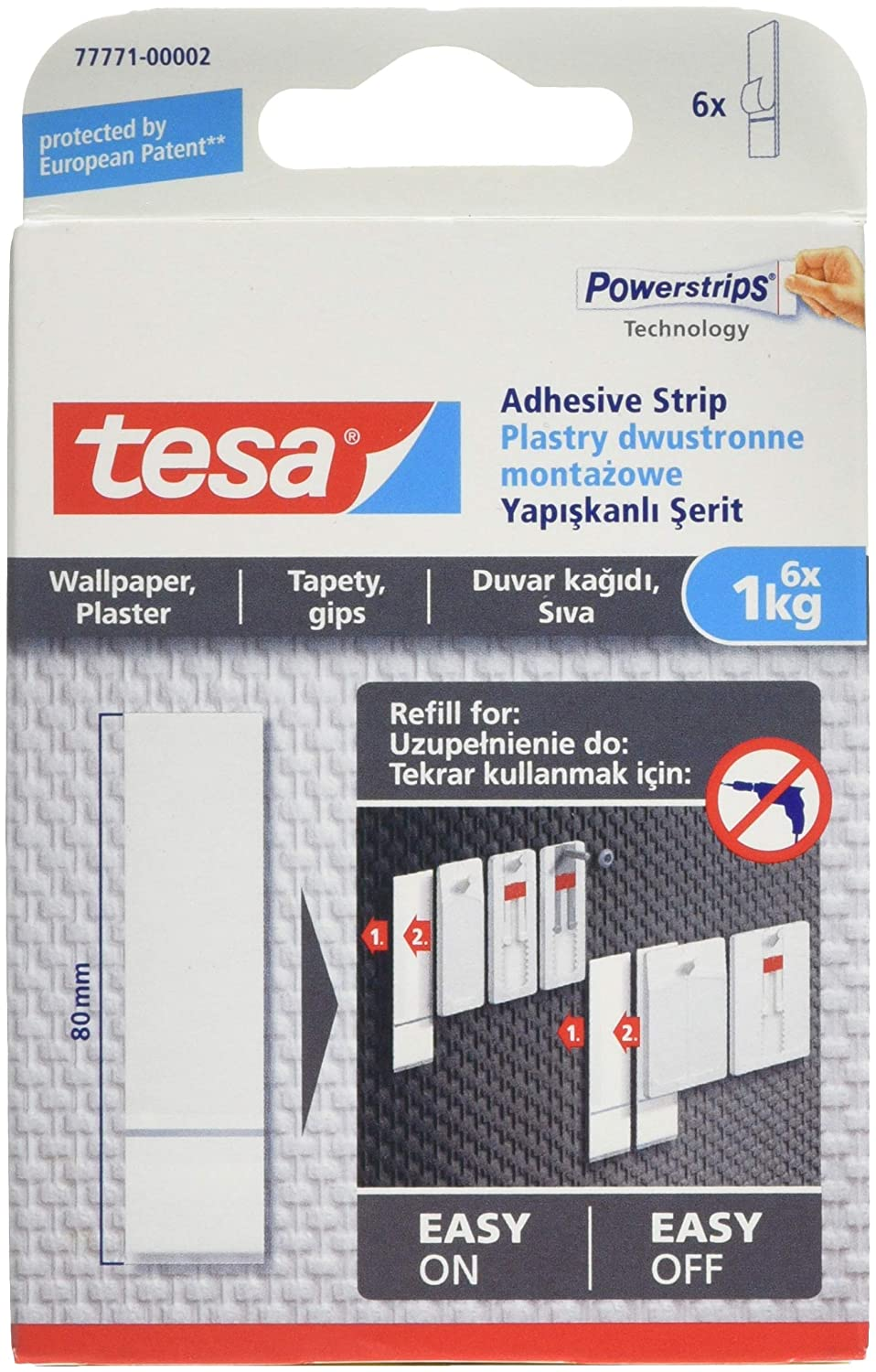 tesa 77770-00002-00 Removable Adhesive Strips for Picture Hanging on Wallpaper, White tesa UK